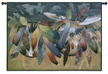 Valiance by David Manje | Woven Tapestry Wall Art Hanging | Bold Native American Feathered Shield Artwork | 100% Cotton USA Size 53x38 Wall Tapestry