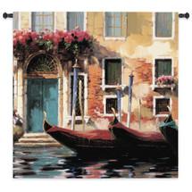 Venetian Gondolas I   Woven Tapestry Wall Art Hanging     Romantic Venetian Waterfront with Gondolas   100% Cotton USA Size 53x53 Wall Tapestry
