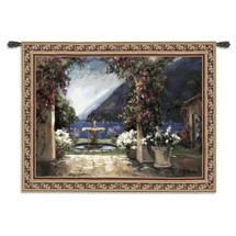 Seaside Fountain by Allayn Stevens   Woven Tapestry Wall Art Hanging   Lush Coastal View Through Archway and Fountain   100% Cotton USA Size 80x53 Wall Tapestry