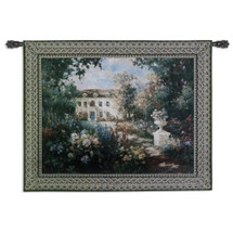 Aix en Provence by Vail Oxley | Woven Tapestry Wall Art Hanging | Vibrant Floral Garden at Luxorius French Villa | 100% Cotton USA Size 53x40 Wall Tapestry