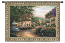 Plenitude de Charme by Betsy Brown | Woven Tapestry Wall Art Hanging | Lush European Villa Cobblestone Street Scene | 100% Cotton USA Size 75x53 Wall Tapestry