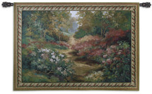 Along the Garden Path by Alix Stefan | Woven Tapestry Wall Art Hanging | Blooming Flowers Nature Trail Artwork | 100% Cotton USA Size 68x53 Wall Tapestry