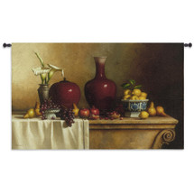 Oriental Still Life with Lilies by Loran Speck   Woven Tapestry Wall Art Hanging   Exquisite Vases and Fruit on Table   100% Cotton USA Size 84x53 Wall Tapestry