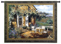 Vineyard Villa | Woven Tapestry Wall Art Hanging | Impressionist Tuscan House with Vibrant Landscape | 100% Cotton USA Size 53x40 Wall Tapestry