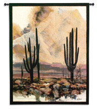Sonoran Sentinels By Adin Shade | Woven Tapestry Wall Art Hanging | Southwestern Desert Cactus And Sunset | 100% Cotton USA Size 53X40 Wall Tapestry