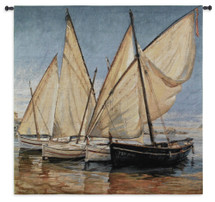 White Sails II by Jaume Laporta | Woven Tapestry Wall Art Hanging | Sailboats on Seascape Harbor Nautical Artwork | 100% Cotton USA Size 52x52 Wall Tapestry