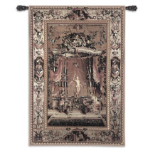 The Offering to Bacchus from the Grotesques Series by Jean-Baptiste Monnoyer | Woven Tapestry Wall Art Hanging | Marble Bacchus Statue on Ornate Background | 100% Cotton USA Size 53x37 Wall Tapestry