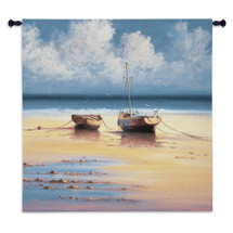 Restful Moorings by David Short | Woven Tapestry Wall Art Hanging | Peaceful Morning Seascape with Two Moored Boats | 100% Cotton USA Size 53x53 Wall Tapestry