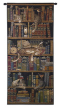 Classic Tails by Charles Wysocki | Woven Tapestry Wall Art Hanging | Cute Sleeping Cats on Bookshelf - Fun Cat Lover's Gift | 100% Cotton USA Size 55x27 Wall Tapestry