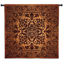 Iron Work | Woven Tapestry Wall Art Hanging | Indian Hindu Filigree Motif | 100% Cotton USA Size 53x53 Wall Tapestry