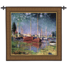Argenteuil by Claude Monet | Woven Tapestry Wall Art Hanging | Post Impressionist Sailboats in Romantic River Basin | 100% Cotton USA Size 53x50 Wall Tapestry