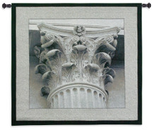 Architectural Detail III | Woven Tapestry Wall Art Hanging | White Greek Column Photograph | 100% Cotton USA Size 35x35 Wall Tapestry