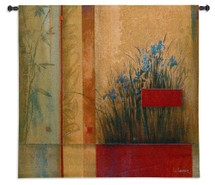 Terrazzo Garden by Don Li-Leger | Woven Tapestry Wall Art Hanging | Abstract Asian Irises on Bamboo | 100% Cotton USA Size 35x35 Wall Tapestry