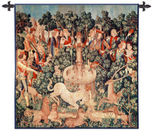 The Unicorn Is Found | Woven Wall Art Hanging | Middle Ages Historic Tapestry Reproduction | 100% Cotton USA Size 35x35 Wall Tapestry