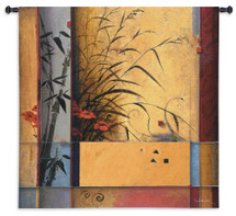 Bamboo Division by Don Li Leger | Woven Tapestry Wall Art Hanging | Abstract Asian Geometric Bamboo Artwork | 100% Cotton USA Size 53x53 Wall Tapestry