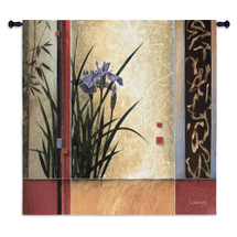 Garden Gateway by Don Li-Leger | Woven Tapestry Wall Art Hanging | Abstract Asian Fusion Iris Geometry | 100% Cotton USA Size 53x53 Wall Tapestry