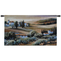 Afternoon Light in Tuscany by Carol Jessen | Woven Tapestry Wall Art Hanging | Vibrant Tuscan Hillside Panoramic | 100% Cotton USA Size 53x32 Wall Tapestry