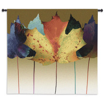 Leaf Dance by Robert Mertens | Woven Tapestry Wall Art Hanging | Colorful Light Warm Tones | 100% Cotton USA Size 53x53 Wall Tapestry