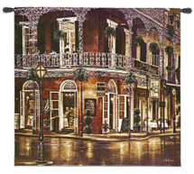 Jazz du Jour by Betsy Brown   Woven Tapestry Wall Art Hanging   New Orleans French Quarter Architecture Evening Street Music   100% Cotton USA Size 53x53 Wall Tapestry
