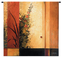 Hollyhock Garden II by Don Li-Leger | Woven Tapestry Wall Art Hanging | Abstract Asian Fusion Lush Floral Geometric Artwork | 100% Cotton USA Size 35x35 Wall Tapestry