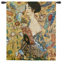 Lady with Fan by Gustav Klimt | Woven Tapestry Wall Art Hanging | Art Nouveau Colorful Abstract Woman Frau mit Fächer 1917 | 100% Cotton USA Size 52x37 Wall Tapestry