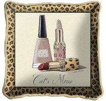 Cats Meow Textured Hand Finished Elegant Woven Throw Pillow Cover 100% Cotton Made in the USA Size 17x17 Pillow