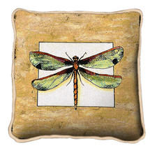 Butterfly Dragonfly I Textured Hand Finished Elegant Woven Throw Pillow Cover 100% Cotton Made in the USA Size 17x17 Pillow