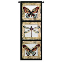 Butterfly Dragonfly I | Woven Tapestry Wall Art Hanging | Butterfly and Dragonfly Panel Art | 100% Cotton USA Size 49x18 Wall Tapestry