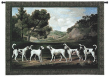 Foxhounds in a Landscape by George Stubbs | Woven Tapestry Wall Art Hanging | Five English Hunting Dogs Meet on Field | 100% Cotton USA Size 53x37 Wall Tapestry