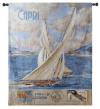 Capri | Woven Tapestry Wall Art Hanging | Vintage Italian Sea Destination Poster with Sailboats | 100% Cotton USA Size 52x41 Wall Tapestry