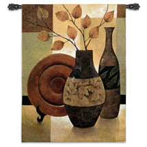 Nature's Patchwork I by Keith Mallett | Woven Tapestry Wall Art Hanging | Contemporary Large Vases Still Life on Geometric Background | 100% Cotton USA Size 53x40 Wall Tapestry