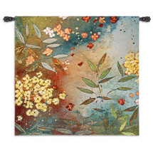 Gardens in the Mist by Aleah Koury | Woven Tapestry Wall Art Hanging | Lush Impressionist Floral Ensemble | 100% Cotton USA Size 54x53 Wall Tapestry