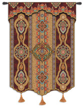 Prema | Woven Tapestry Wall Art Hanging | Beautiful Warm Color Toned Pattern Artwork | 100% Cotton USA Size 62x52 Wall Tapestry