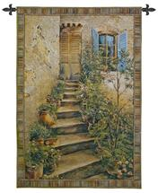 Tuscan Villa II by Roger Duvall | Woven Tapestry Wall Art Hanging | Rustic Italian Village Steps | 100% Cotton USA Size 34x26 Wall Tapestry