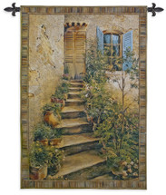 Tuscan Villa II by Roger Duvall | Woven Tapestry Wall Art Hanging | Rustic Italian Village Steps | 100% Cotton USA Size 53x43 Wall Tapestry