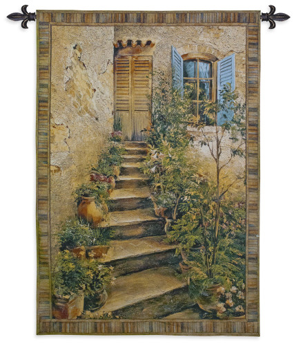 Tuscan Villa II by Roger Duvall   Woven Tapestry Wall Art Hanging   Rustic Italian Village Steps   100% Cotton USA Size 53x43 Wall Tapestry
