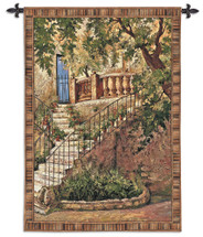 Tuscan Villa I by Roger Duvall | Woven Tapestry Wall Art Hanging | Rustic Italian Steps with Foliage | 100% Cotton USA Size 70x53 Wall Tapestry