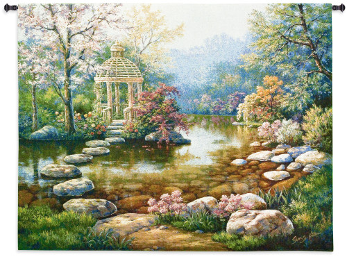 Gazebo Rom | Woven Tapestry Wall Art Hanging | Colorful Spring Gazebo across Pond | 100% Cotton USA Size 53x40 Wall Tapestry