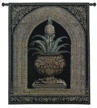 Pineapple Urn by Walter Robertson | Woven Tapestry Wall Art Hanging | Decorative Pineapple Plant on Ornate Pedestal | 100% Cotton USA Size 53x38 Wall Tapestry