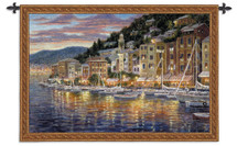 Portofino | Woven Tapestry Wall Art Hanging | Portofino Bay Italian Riviera | 100% Cotton USA Size 52x35 Wall Tapestry