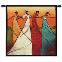Unity by Monica Stewart | Woven Tapestry Wall Art Hanging | African Women Dancing | 100% Cotton USA Size 53x53 Wall Tapestry