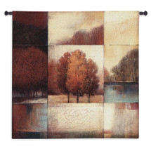 Persimmon Forest by Ivo Stoyanov | Woven Tapestry Wall Art Hanging | Abstract Autumn Forest Landscape Panel Artwork | 100% Cotton USA Size 53x53 Wall Tapestry