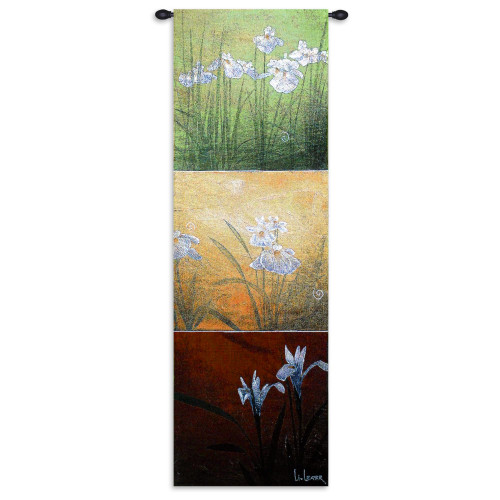 Karma by Don Li-Leger | Woven Tapestry Wall Art Hanging | Asian Fusion Contemporary Floral Panels | 100% Cotton USA Size 53x18 Wall Tapestry