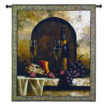 Date To Remember by Loran Speck | Woven Tapestry Wall Art Hanging | Still Life Wine Table of Grapes and Cheese | 100% Cotton USA 59X53 Wall Tapestry