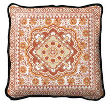 Fine Art Tapestries Masala Clove Textured Hand Finished Elegant Woven Throw Pillow Cover 100% Cotton Made in the USA Size 24 x 24 Pillow