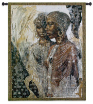 We Are Sisters by Marta Gottfried Wiley | Woven Tapestry Wall Art Hanging | Abstract Depiction of Two African Women with Traditional Jewelery | 100% Cotton USA Size 53x39 Wall Tapestry