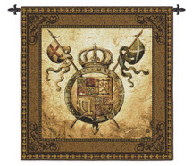 Terra Nova II by Liz Jardine | Woven Tapestry Wall Art Hanging | Old World Crest Regal Crown | 100% Cotton USA Size 53x53 Wall Tapestry