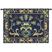 Heritage Floral Blue Yel | Woven Tapestry Wall Art Hanging | Vintage Germanic Ornamental Floral Vase Pattern | 100% Cotton USA Size 53x40 Wall Tapestry