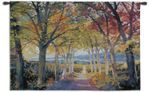 Autumn Path by Douglas Chun | Woven Tapestry Wall Art Hanging | Warm Autumn Colors | 100% Cotton USA Size 53x34 Wall Tapestry