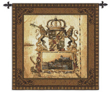 Terra Nova I by Liz Jardine | Woven Tapestry Wall Art Hanging | Old World Crest with Lions and Crown | 100% Cotton USA Size 44x44 Wall Tapestry